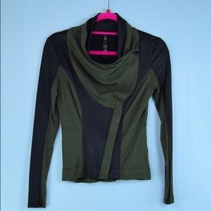 JESSICA SIMPSON green black faux leather jacket XS